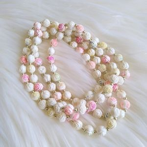 Pastel Rose Beaded Necklace